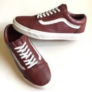 Vans Burgundy Leather Old Skool Low Top Sneakers